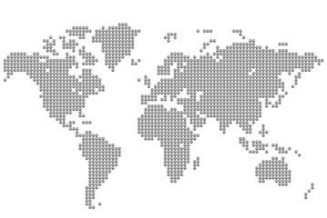 Оригинальная карта мира, выполненная знаками мира. Векторная иллюстрация.