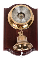 Vintage wooden wall barometer with bell on white background