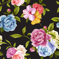 Peony and roses with leaves. Seamless background pattern. Vector - stock.
