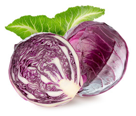 purple cabbage isolated on the white background