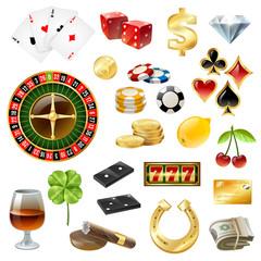Casino Equipment Symbols Accessories Glossy Set
