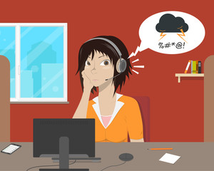 Girl operator listens to the complaint angry customer with a smile. Vector illustration