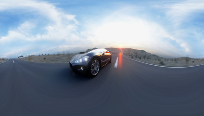 Black sport car on road, highway. Very fast driving. 360 spherical panoramic. 3d rendering.