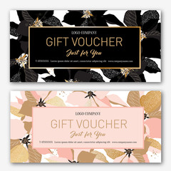 Gift voucher. Birthday card. Coupon template.  Background for the invitation, shop, beauty salon, spa. Black and pink poinsettia on a white background.