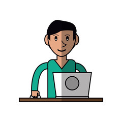 cartoon young man using laptop on desk vector illustration eps 10