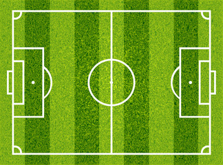 Textured grass football, soccer field. Vector