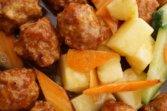 Sweet and sour pork meatballs with pineapple