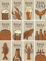 set of business cards for the pub on the subject of beer and snacks from SEAFOOD