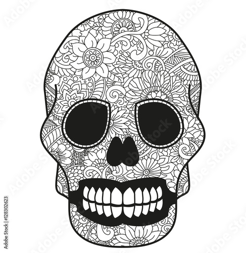 quot black and white mandala skull for coloring book or