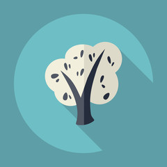 Flat modern design with shadow Icon  tree