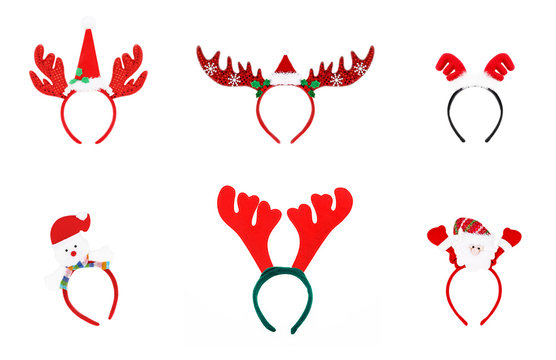 Pair of toy reindeer horns. headband of christmas isolated on wh