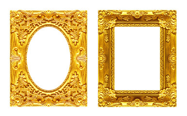 Set 2 - Antique picture golden frame isolated on white backgroun