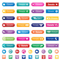 Donate buttons vector set.