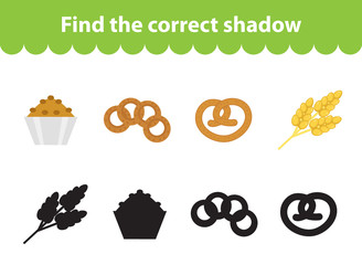 Children s educational game, find correct shadow silhouette. Baking set the game to find the right shade. Vector illustration