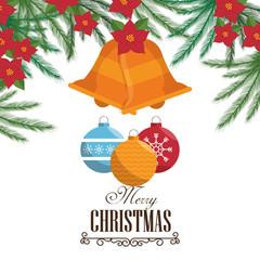 christmas bell decoration card vector illustration design