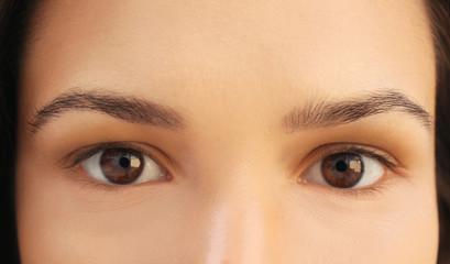 Beautiful girl eyes, closeup