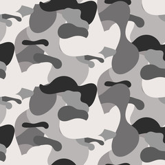 Gray camouflage seamless vector pattern. Soldier uniform grayscale pattern.