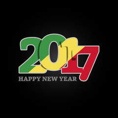 Year 2017 with Republic Of The Congo Flag pattern. Happy New Year Design on black background. Vector Illustration.