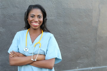 Female african american medical professional - Stock image with copy space