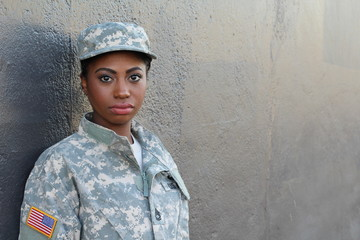 Veteran Female African American Soldier with Neutral Expression and Copy Space