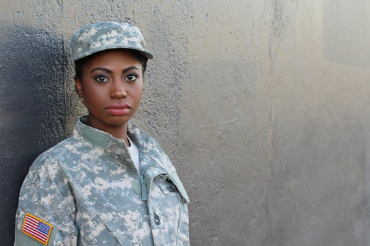Female American Soldier - Stock image with Copy Space