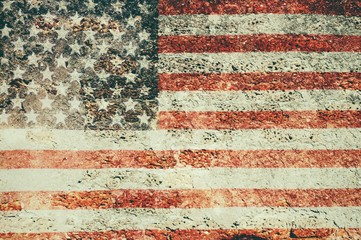 USA flag overlay on old brick and cement wall texture for background use