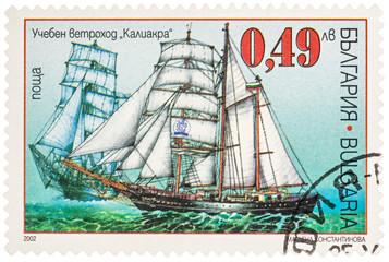 Training sailing ship Kaliakra on postage stamp
