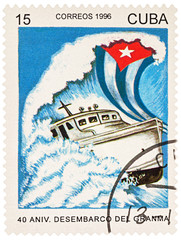Ship Granma in the sea on postage stamp
