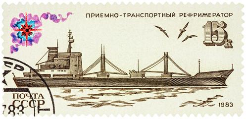 Refrigerated transporter on postage stamp