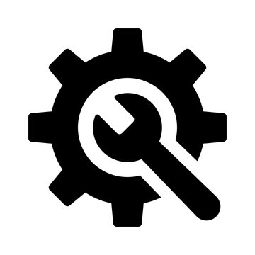 Wrench and gear / preferences or configurations flat icon for apps and websites