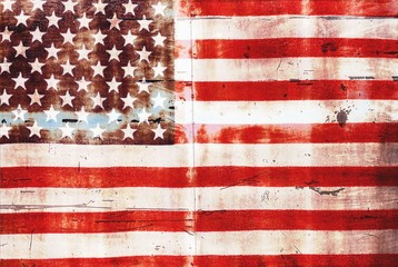USA flag overlay on old rusty wall surface texture for background use