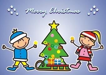 Christmas post card, kids and christmas tree