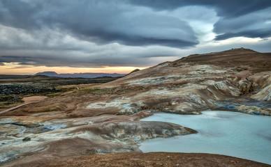 Turquoise Geothermal Hot Spring in Krafla Iceland