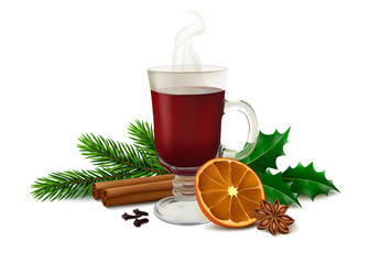 Christmas mulled wine on white background