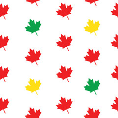 Seamless pattern maple leaves red, green and yellow falling from tree on white background. Maple leaf vector illustration