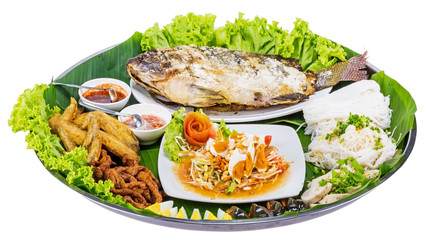 Fried fish with salad from Thai food
