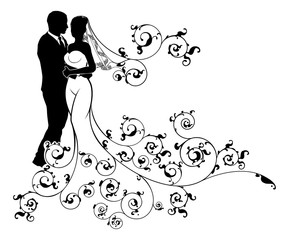 Silhouette Bride and Groom Wedding Illustration