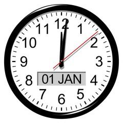 Horloge. Minuit. Nouvel an. 1 janvier.
