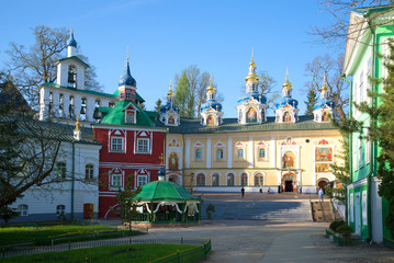 May morning on the Holy Dormition Pskovo-Pechorsky monastery