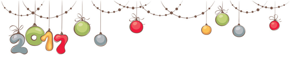 New year's and Christmas decorations / Horizontal narrow banner with beads and balls