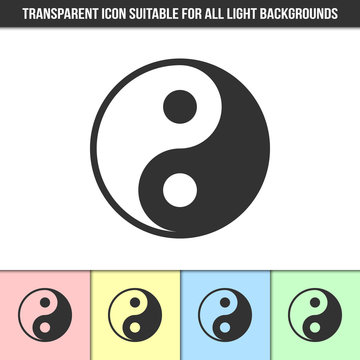 Simple outline transparent Yin Yang icon on different types of light backgrounds