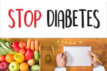 STOP DIABETES CONCEPT Stop diabetes against healthy