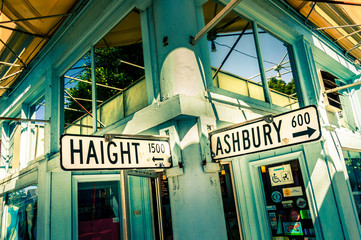 SAN FRANCISCO, CA - September 21, 2015: Haight Ashbury street sign junction corner in California, USA