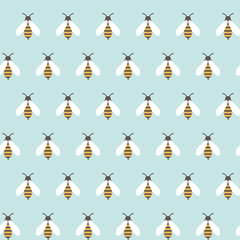 seamless pattern with repeated bees ornament