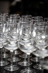 Many empty glasses