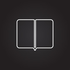 Books Illustration , Color  on Dark Background. Glowing Lines and Points. Book Icon. Book Icon. Book Icon. Book Icon. Book Icon. Book Icon. Book Icon. Book Icon. Book Icon.
