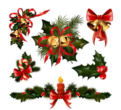 Christmas decorations with fir tree and decorative elements