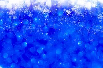 Blue Sparkling Glitter bokeh Background.