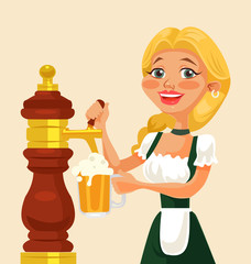 Oktoberfest girl character pouring beer. Vector flat cartoon illustration