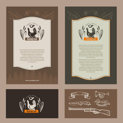 A hunting club. Grouse. Vector logo, logo. Set of corporate identity elements